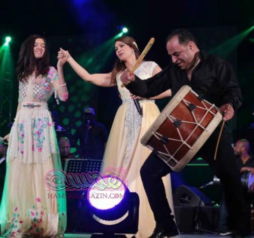 بالصور ديانا حداد تدعم الموهبة نهيلة القلعى على مسرح النهضة