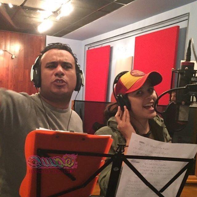 ياسمين عبدالعزيز والليثى يسجلان أغنية فيلم