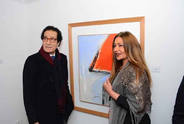 """بالصور.. معرض وزير الثقافة الاسبق """"فاروق حسني"""" بحضور ليلى علويونخبة من المثقفين والسياسيين"""
